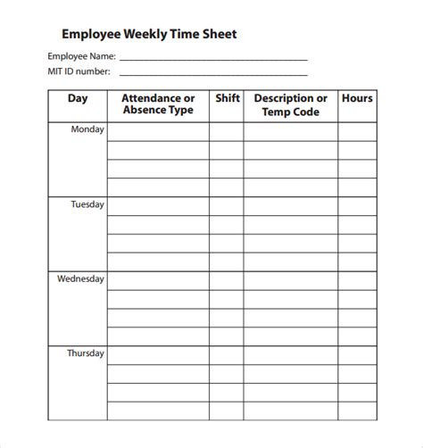 Employee Time Sheet Template by 22 Employee Timesheet Templates Free Sle Exle