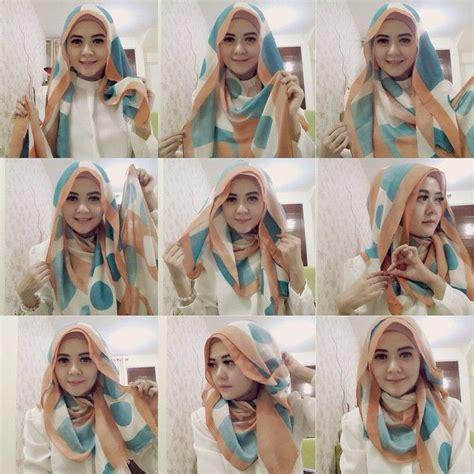 contoh gambar  memakai jilbab segi empat pesta