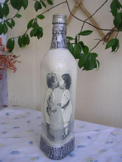 glass decoupage κλασσικό μπουκάλι ντεκουπάζ classic decoupage bottle