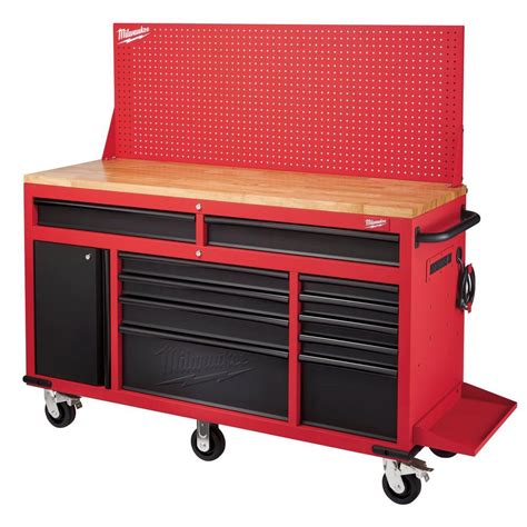 Husky 52 In Pegboard Back Wall For Tool Cabinet Black by Milwaukee 60 125 In 11 Drawer And 1 Door 22 In D Mobile