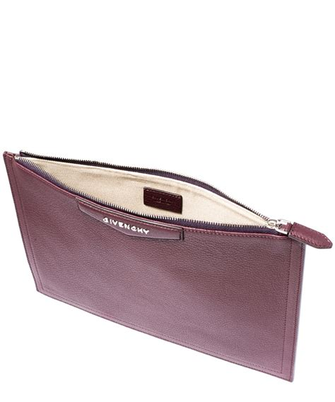 Pouch Givenchy Ori Leather lyst givenchy medium burgundy antigona grained leather pouch in purple