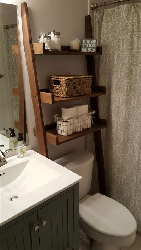 leaning bathroom shelf over the toilet ladder shelf bathroom storage leaning