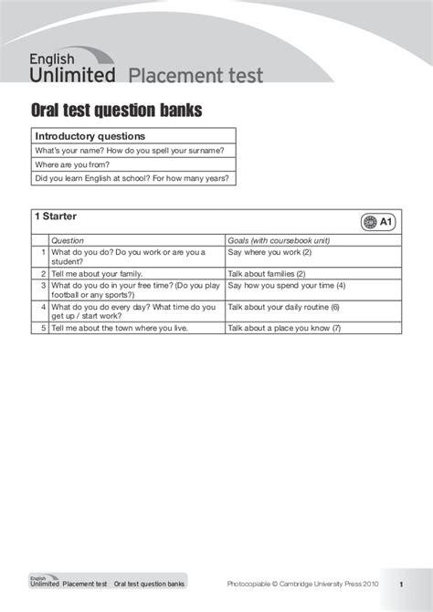 test orale cambridge unlimited placement test test