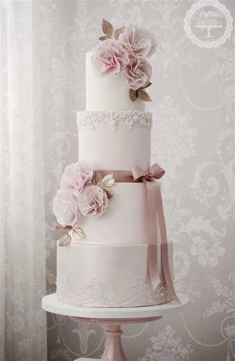 Detailed Wedding Cakes by Four Tier Pink Detailed White Wedding Cake Wedding Cake