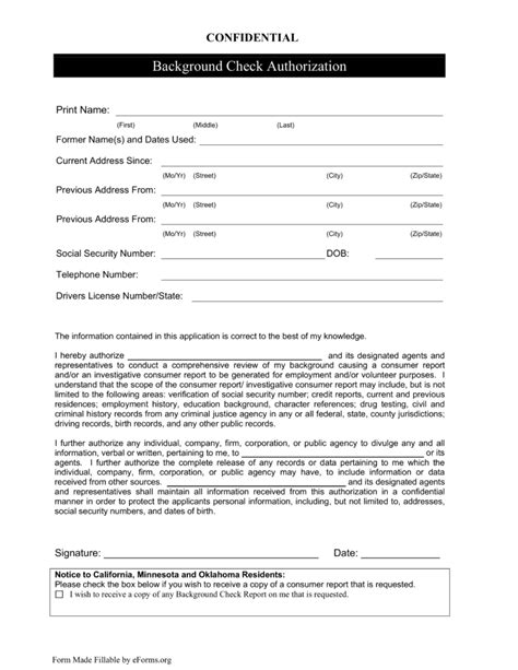 Criminal History Check Free Background Check Authorization Form Template Template Design