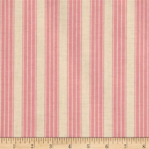 Ivory Upholstery Fabric Pirouette Vintage Ticking Stripe Pink Discount Designer