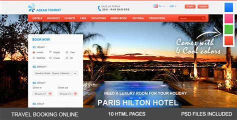22 Free Premium Hotel Html Templates With Booking Travel Booking Website Templates Free