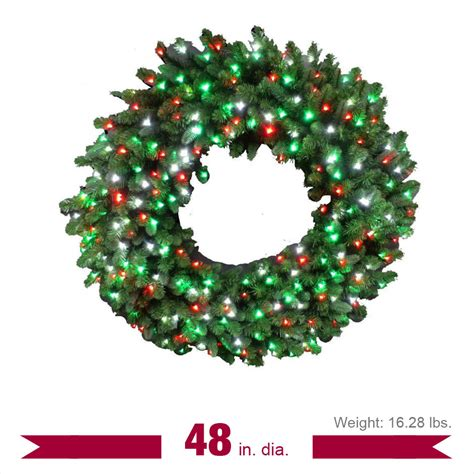 48 in led pre lit artificial christmas wreath with micro