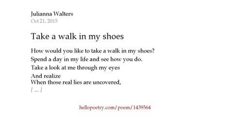 Walk A Mile In My Shoes Poem