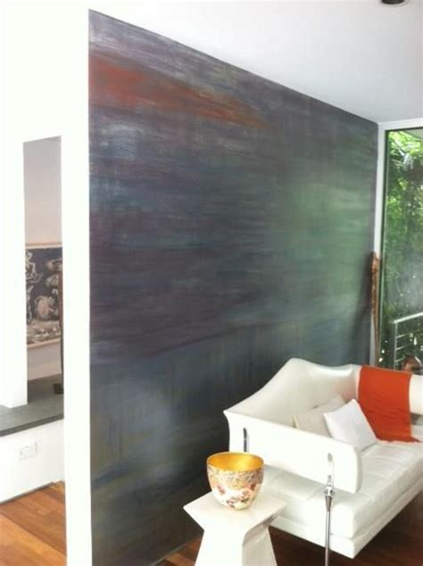 metal accent wall a contemporary multi color accent wall finish created with