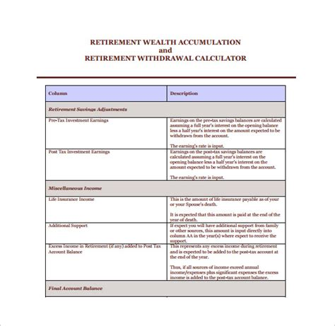 retirement withdrawal calculator sle retirement withdrawal calculator 9 documents in pdf