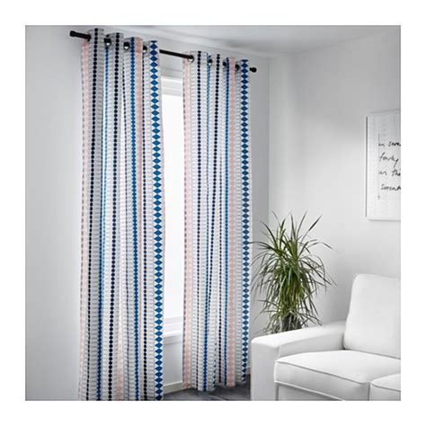Ikea Panel Curtains Ikea Mossflox Curtains Drapes 2 Panels Blue Pink Green Multicolor Grommet Eyelet Header 98 Quot