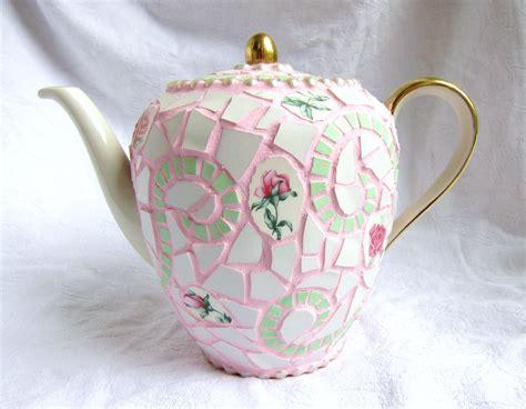shabby chic teapot frances green roses mosaic teapot