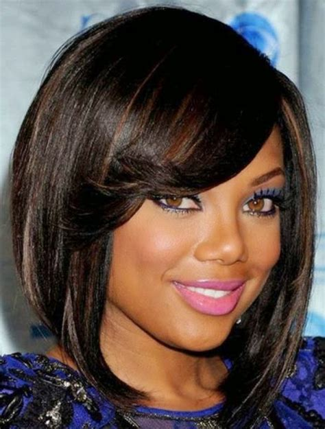 Layered Bob Haircut American | african american short natural hairstyles for round faces