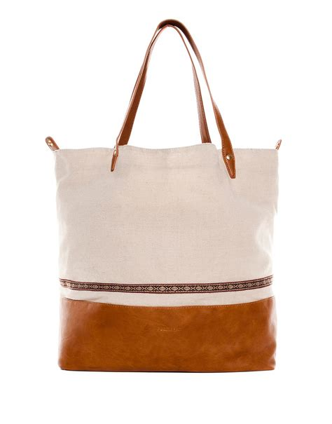 Pullbear Bag pull combined fabric shopper bag in brown leather lyst