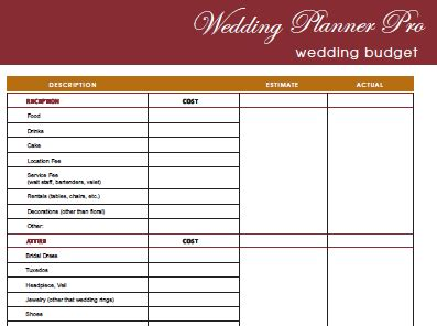 9 Best Images Of Printable Budget Form Wedding Printable Wedding Budget Worksheet Template Free Printable Wedding Planner Templates