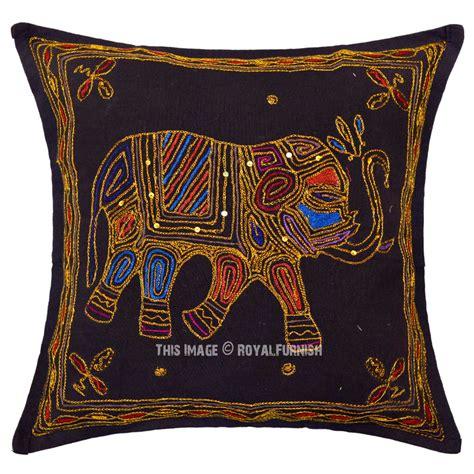 black needlepoint ari embroidered elephant throw