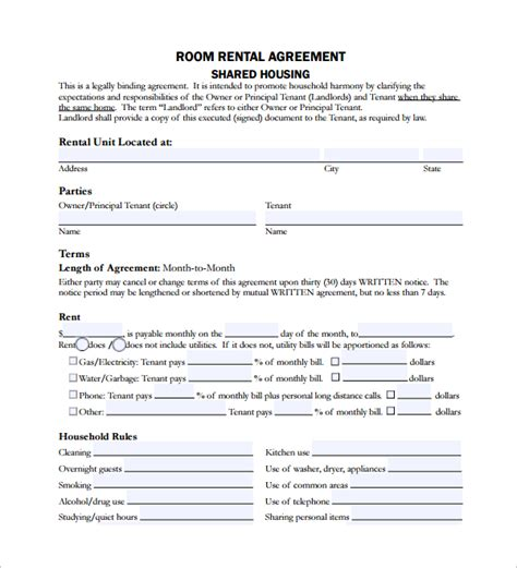 sle room lease agreement 10 free documents download