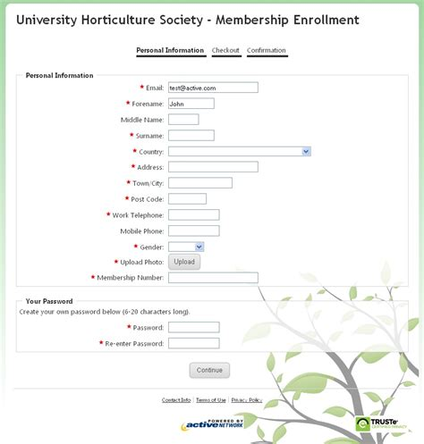 Sle Membership Form Create An Online Membership Form Membership Surveys Templates