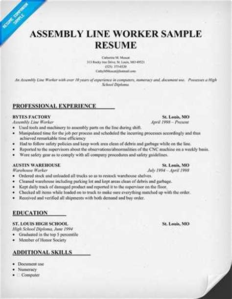 ideas of sample resume for factory worker charming resume examples