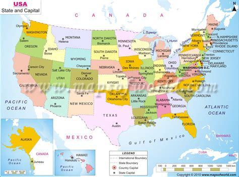 maps of usa capital map of us