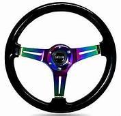 NRG Steering Wheel Black Classic Wood Grain 3 Spoke