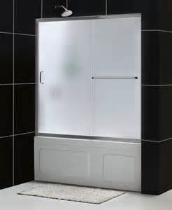 sliding tub shower doors infinity z 56 to 60 quot frameless sliding tub door frosted 1