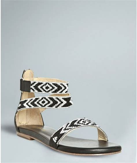 aztec sandals matt bernson black and white beaded leather aztec sandals