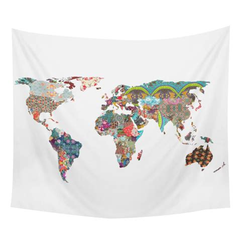 world map printed rectangle versatile tapestry bedroom