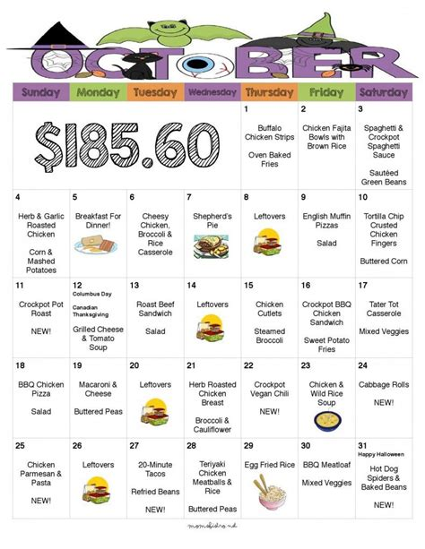 printable calendar kid friendly what s for dinner 31 days of delicious no repeat kid
