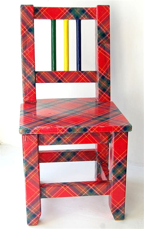 Furniture Decoupage Paper - from tatty to tartan a reved chair using decoupage