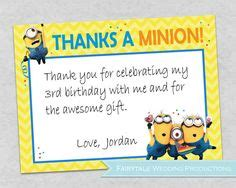 printable minion thank you cards despicable me minions movie custom birthday party thank