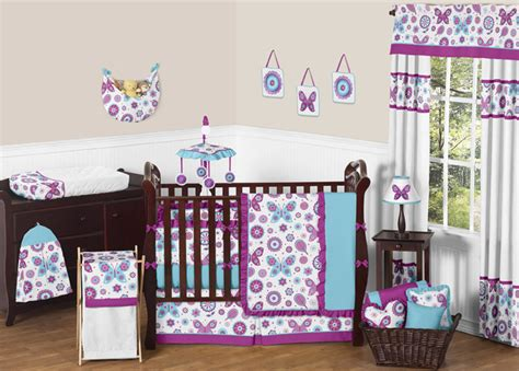 purple and turquoise crib bedding purple turquoise and white flower garden butterfly