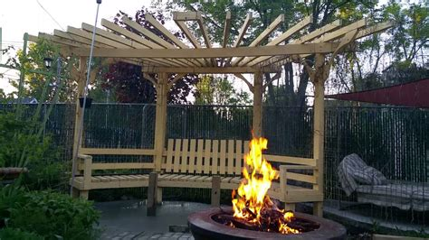 How To Build A Backyard Swing Fire Pit Pergola Youtube
