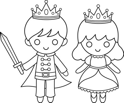 Prince And Princess Line Art Free Clip Art Princess And Prince Coloring Pages