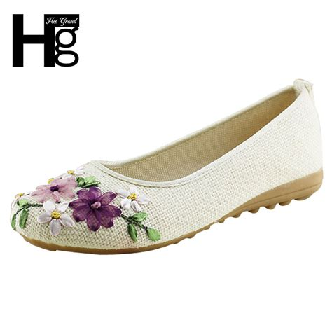 flower flat shoes 2016 new flower flats slip on cotton fabric casual