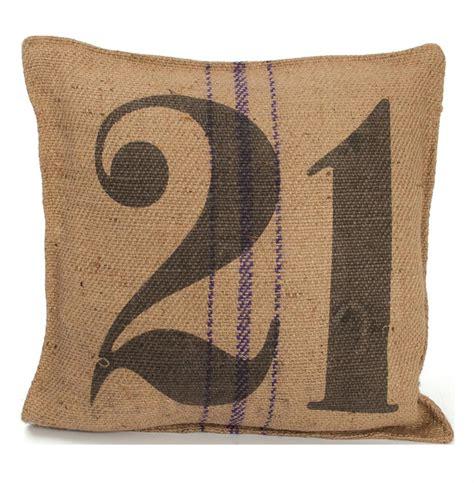 vintage burlap sack printed toss pillow number 21 kathy