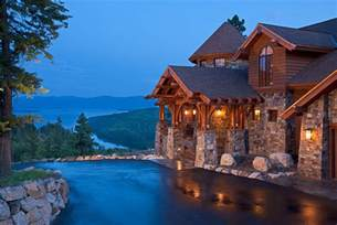Table Rock Lake Cabins Wood Stone Arched Beams And Turret In The House Exterior