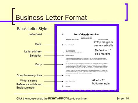 business letter format center vertically memos and letters copyright 2006 south western thomson