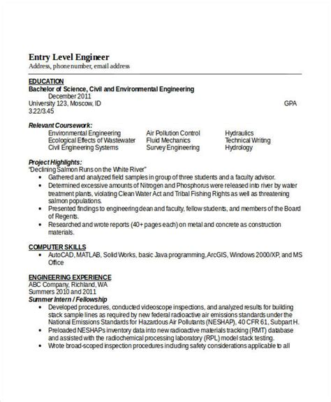 Resume Exles Entry Level Engineering Engineering Resume Template 32 Free Word Documents