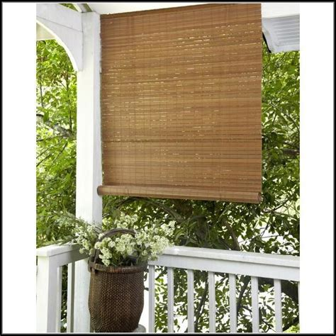 Bamboo Roll Up Patio Blinds Patios Home Decorating Bamboo Shades Patio