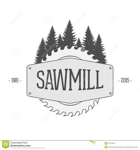 woodworking company vintage vector label of sawmill stock vector image 57370504