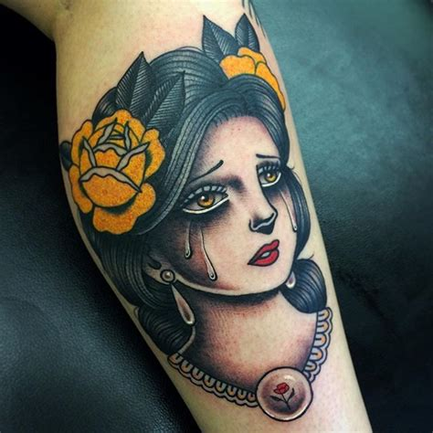 tattoo girl crying old school style colored leg tattoo of crying woman with