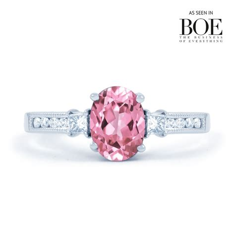 Pink Ring by Arya Pink Sapphire Engagement Ring With 0 1ct 18ct