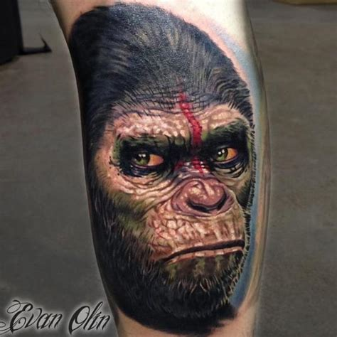 arm monkey tattoo by powerline tattoo