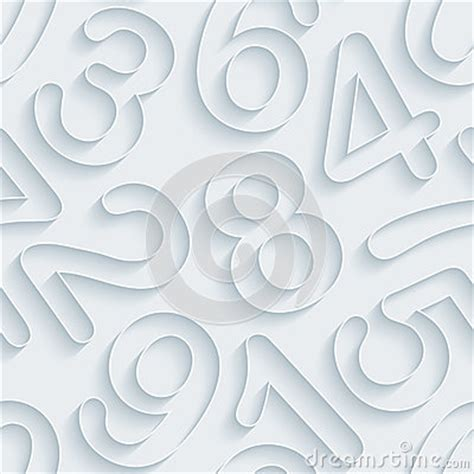 white pattern outline white paper numbers seamless background stock vector