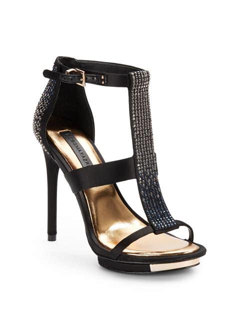 jeweled high heels bcbgmaxazria lilie jeweled high heel sandals in black lyst