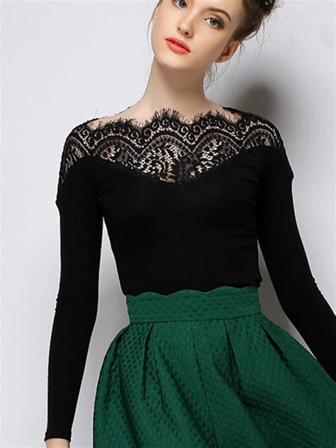 Lace Panel Sleeve Shirt black lace panel tight sleeve t shirt choies