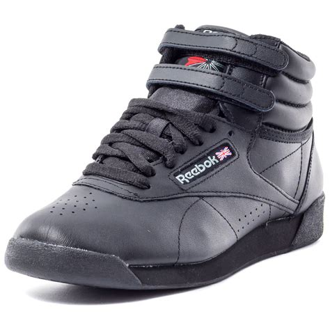 reebok new shoes reebok free style fs hi womens leather black trainers new