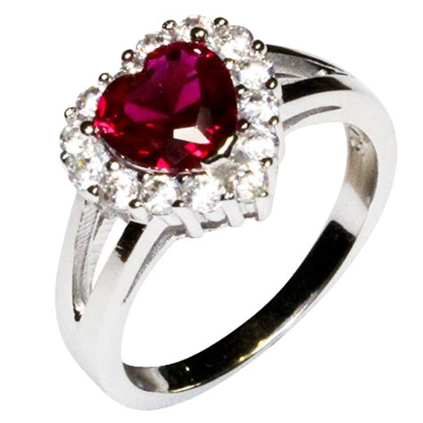 ruby halo promise ring cubic zirconia